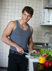 Young Sexy Man Preparing Salad