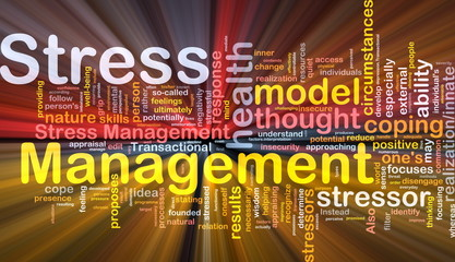 Stress management background concept glowing