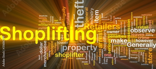 Shoplifting background concept glowing