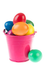 Pink bucket easter eggs