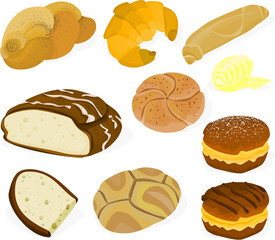 Set of a various bread and biscuits