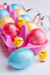 Easter eggs and funny chicken..
