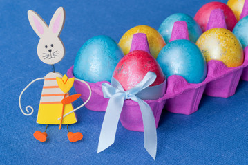 Easter: eggs and funny bunny.