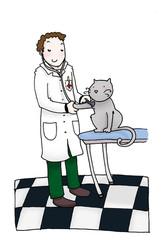 Giovane veterinario con gatto