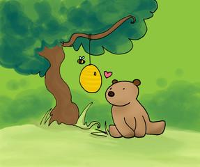 orsetto e ape nel bosco