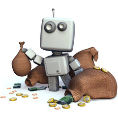 Gray Robot with money bags