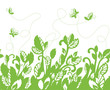 Seamless green foliage and butterflies border