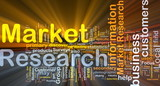 Market research background concept glowing