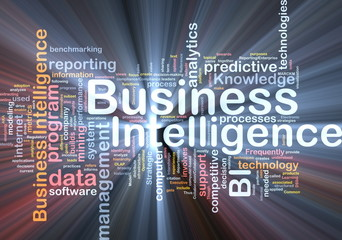 Business intelligence background concept glowing
