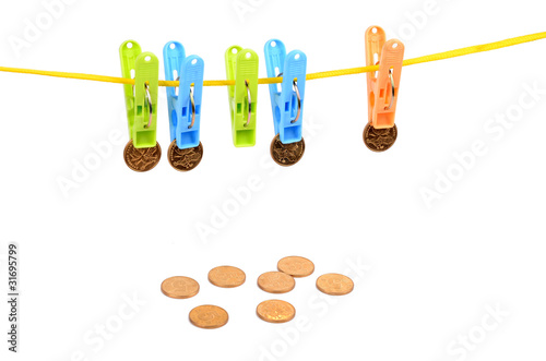 clothespin and coins