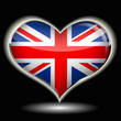 a heart with the flag of united kingdom
