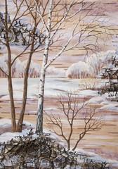 Landscape on a birch bark