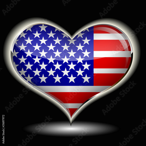a heart with the flag of USA isolated on a black