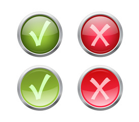 Set of vector accept and decline buttons