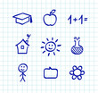 School doodle drawings and icons - isolated on white
