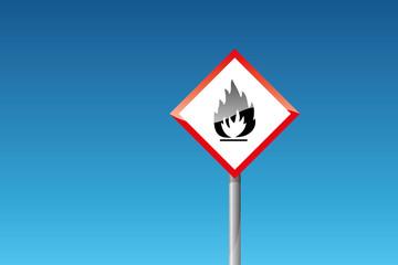 Gefahrzettel Flamme Feuer entflammbar brand