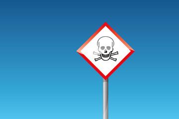 Gefahrzettel Totenkopf mit gekreuzten Knochen Gifitg
