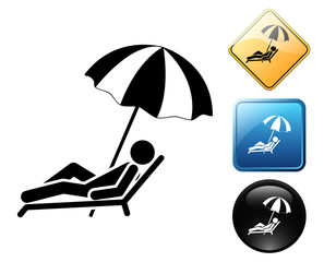 Beach Lounger pictogram and signs