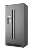 single modern black refrigerator isolated on white background