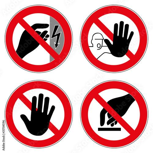 Verbotszeichen Set Nicht berühren Zutritt Hand Halt Verboten