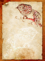 Sheet of old paper with ornamental bird