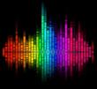 color digital sound equalize isolated on black background