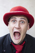 funny man in red hat