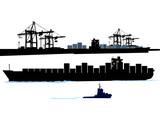 Hafen mit Container-Schiff