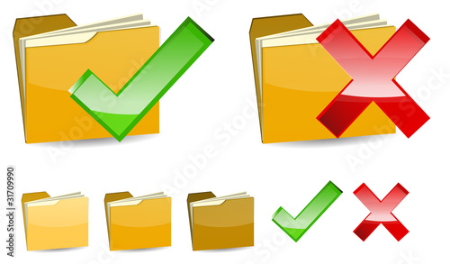 set of right and wrong yellow folder