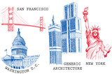 USA famous cities architecture and landmarks