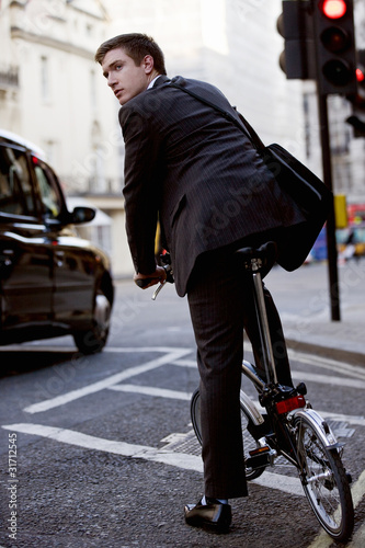 A businessman commuting to work