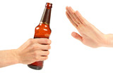 hand reject a bottle of beer