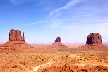 Left and Right Mitten and Merrick Butte, Monument Valley, USA