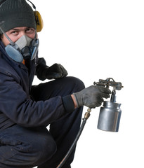 Industrial painter with spray gun isolated on white background.