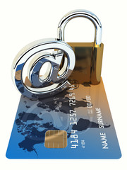 Credit card ,arobase sign and a padlock on white background