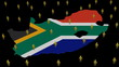 South Africa map flag with many people animation
