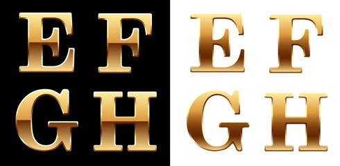 Golden font - latter E F G H