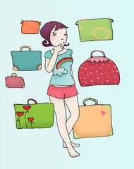 ragazza indecisa nel fare i bagagli
