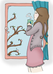 Ragazza alla finestra beve il caffè