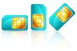 set of blue sim card isolated on white background