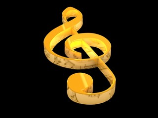 3D golden music key on black background