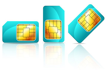 set of blue sim card isolated on white background