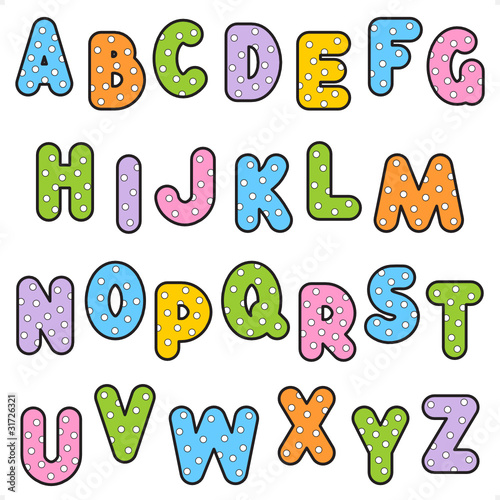 Polka-dot pattern alphabet set