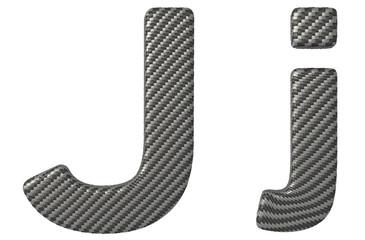 Carbon fiber font J lowercase and capital letters