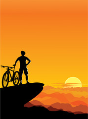 A boy with a mountain bike – sunset landscape.
