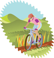 Girl riding a mountain-bike – rural scene.