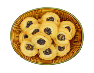 Overhead View Plate of Boysenberry Cookies