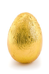Gold easter egg isolated on white