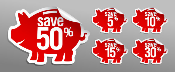 Discount labels in form of piggy bank.