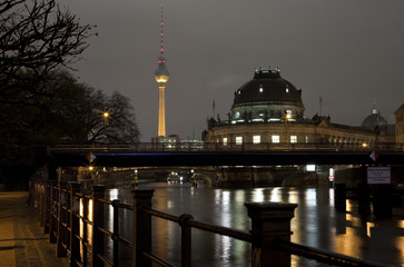 View over the Spree of the Bode Museum and TV Tower at Night